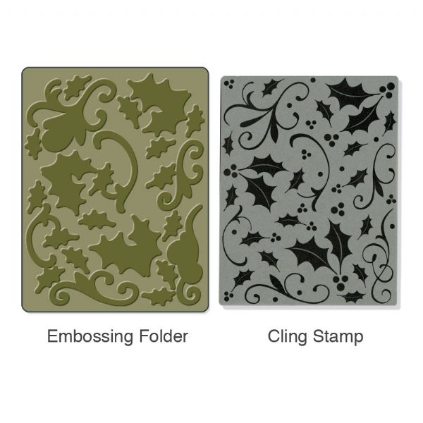 Textured Impressions Stamp & Emboss Holly Background